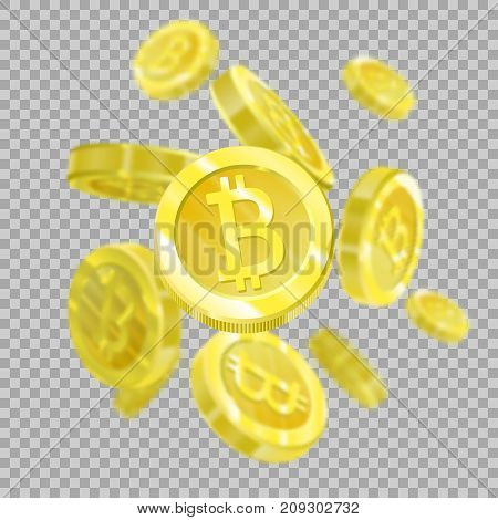 Bitcoins on a transparent background isolated, since the bitcoins are falling from the sky. Crypt currency of the future, mining, electronic payments