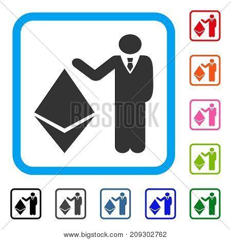 Banker Show Ethereum icon. Flat gray iconic symbol in a light blue rounded rectangular frame. Black, gray, green, blue, red, orange color variants of Banker Show Ethereum vector.
