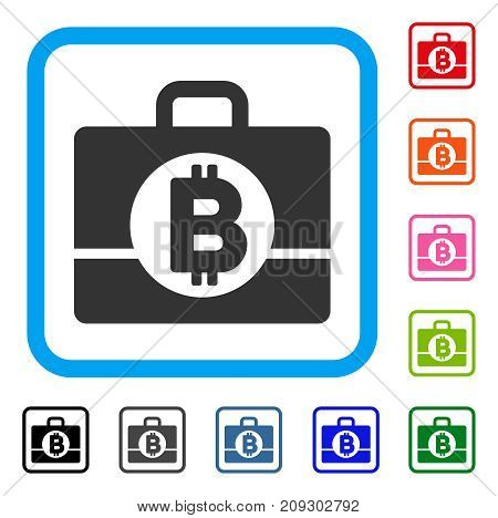 Bitcoin Accounting Case icon. Flat gray pictogram symbol inside a light blue rounded rectangle. Black, gray, green, blue, red, orange color additional versions of Bitcoin Accounting Case vector.