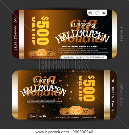 Vector gift voucher to Happy Halloween holiday with pumpkins metal stripes yellow and white text on the gradient dark brown background.
