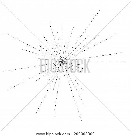 Sun burst, star burst sunshine. Radiating from the center of thin beams, lines. Vector illustration. Icon black on white. Design element for logo, signs. Dynamic style. Abstract explosion