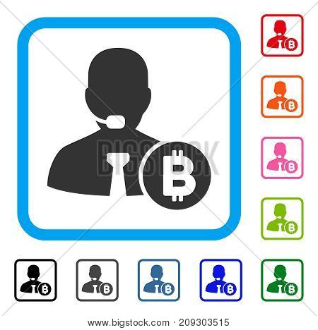 Bitcoin Call Operator icon. Flat gray pictogram symbol in a light blue rounded square. Black, gray, green, blue, red, orange color variants of Bitcoin Call Operator vector.