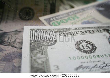 Million Dollar Bill With Thousand Dollar Bill Close Up