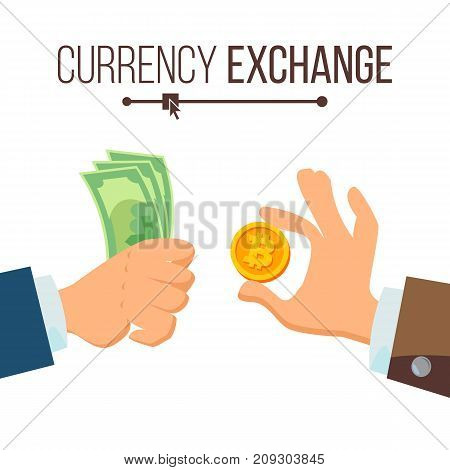 Money Currency Exchange Concept Vector. Dollar And Bitcoin. Finance. Isolated