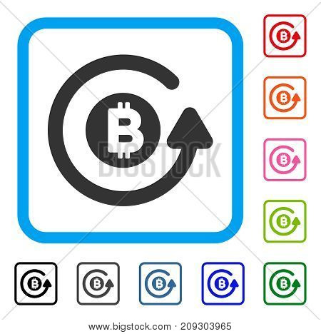 Bitcoin Chargeback icon. Flat gray pictogram symbol inside a light blue rounded rectangle. Black, gray, green, blue, red, orange color variants of Bitcoin Chargeback vector.