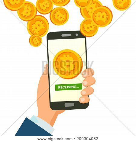 Mobile Bitcoin Receiving Concept Vector. Modern Finance Economic. Wireless Bitcoin Finance Receiving Concept. Hand Holding Smartphone. Digital Currency In Smartphone Application. Isolated