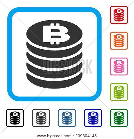 Bitcoin Coin Stack icon. Flat gray pictogram symbol inside a light blue rounded frame. Black, gray, green, blue, red, orange color variants of Bitcoin Coin Stack vector.