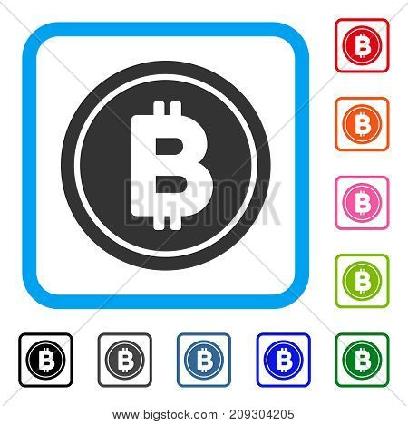 Bitcoin Coin icon. Flat grey iconic symbol inside a light blue rounded frame. Black, gray, green, blue, red, orange color variants of Bitcoin Coin vector. Designed for web and app UI.