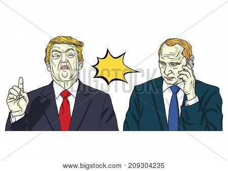 Donald Trump and Vladimir Putin. Vector Portrait Illustration. October 17, 2017