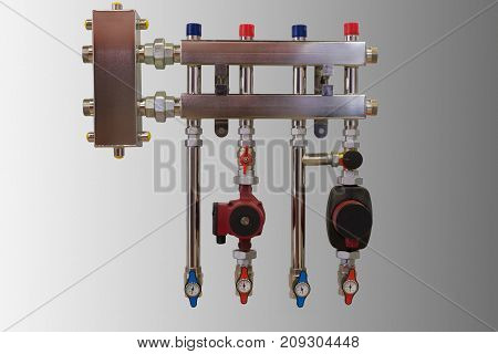 Main Control manifold of house heating system