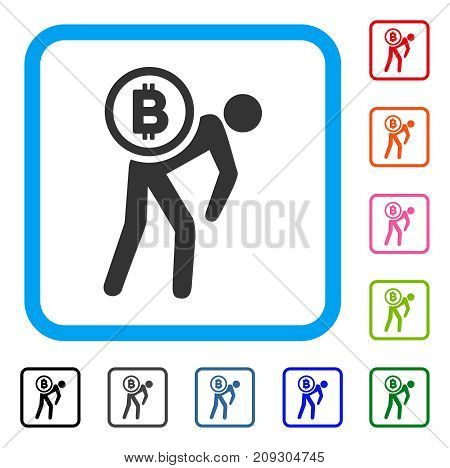 Bitcoin Courier Person icon. Flat grey pictogram symbol in a light blue rounded square. Black, gray, green, blue, red, orange color additional versions of Bitcoin Courier Person vector.