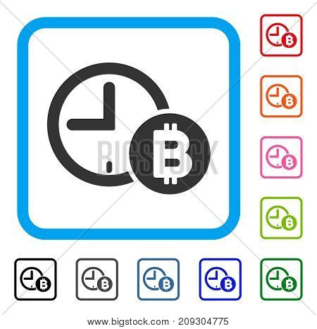 Bitcoin Credit Clock icon. Flat gray pictogram symbol inside a light blue rounded squared frame. Black, gray, green, blue, red, orange color variants of Bitcoin Credit Clock vector.