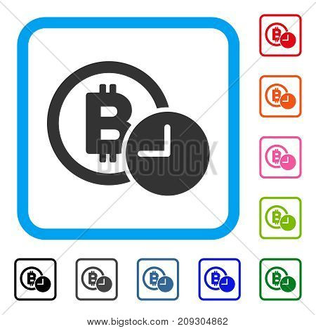 Bitcoin Credit Clock icon. Flat grey iconic symbol inside a light blue rounded rectangular frame. Black, gray, green, blue, red, orange color additional versions of Bitcoin Credit Clock vector.