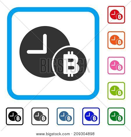 Bitcoin Credit Clock icon. Flat grey iconic symbol inside a light blue rounded frame. Black, gray, green, blue, red, orange color versions of Bitcoin Credit Clock vector.