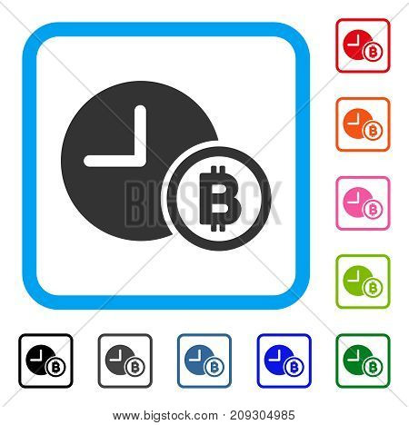 Bitcoin Credit Clock icon. Flat gray iconic symbol in a light blue rounded square. Black, gray, green, blue, red, orange color variants of Bitcoin Credit Clock vector.