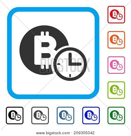 Bitcoin Credit Clock icon. Flat grey iconic symbol in a light blue rounded rectangle. Black, gray, green, blue, red, orange color variants of Bitcoin Credit Clock vector.
