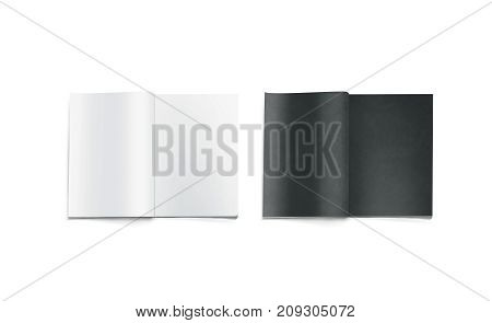 Opened black and white blank magazine pages mockup, isolated. Journal mock up lying on desk. Catalog spread template. Empty notebook booklet design inside. Clear book center presentation.
