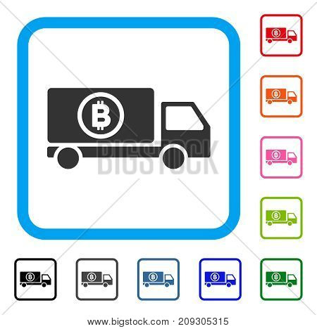 Bitcoin Delivery Truck icon. Flat grey iconic symbol in a light blue rounded squared frame. Black, gray, green, blue, red, orange color versions of Bitcoin Delivery Truck vector.