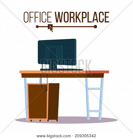 Office Workplace Concept Vector. Furniture Workplace For Boss. Laptop Computer. Office Desk