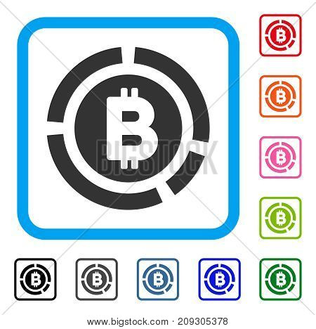 Bitcoin Diagram icon. Flat grey iconic symbol in a light blue rounded square. Black, gray, green, blue, red, orange color versions of Bitcoin Diagram vector.