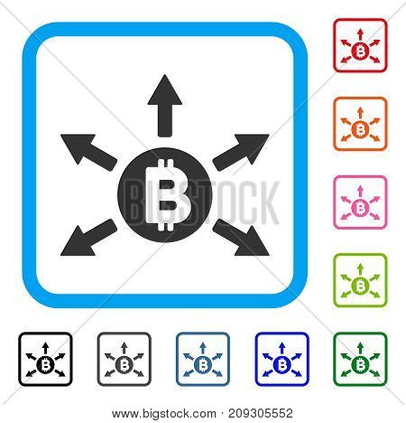 Bitcoin Emission icon. Flat grey iconic symbol in a light blue rounded rectangle. Black, gray, green, blue, red, orange color variants of Bitcoin Emission vector.