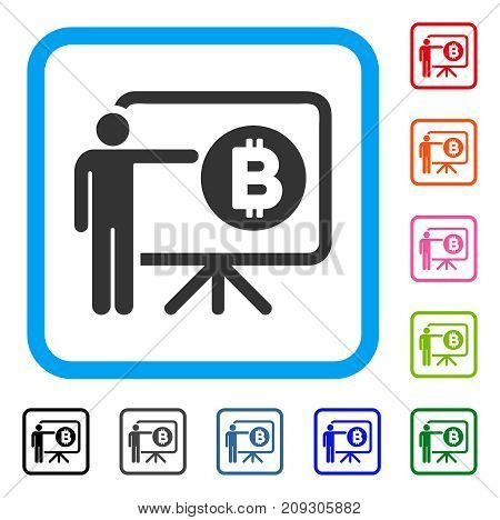 Bitcoin Lecture Board icon. Flat grey pictogram symbol inside a light blue rounded squared frame. Black, gray, green, blue, red, orange color versions of Bitcoin Lecture Board vector.