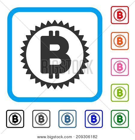 Bitcoin Medal Coin icon. Flat gray iconic symbol inside a light blue rounded rectangular frame. Black, gray, green, blue, red, orange color variants of Bitcoin Medal Coin vector.