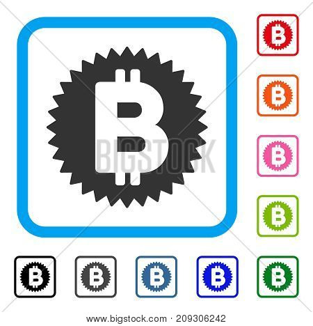 Bitcoin Medal Coin icon. Flat grey pictogram symbol inside a light blue rounded square. Black, gray, green, blue, red, orange color variants of Bitcoin Medal Coin vector.