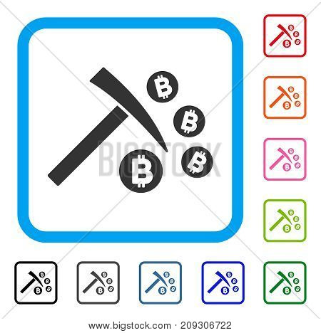 Bitcoin Mining Hammer icon. Flat grey iconic symbol inside a light blue rounded squared frame. Black, gray, green, blue, red, orange color versions of Bitcoin Mining Hammer vector.