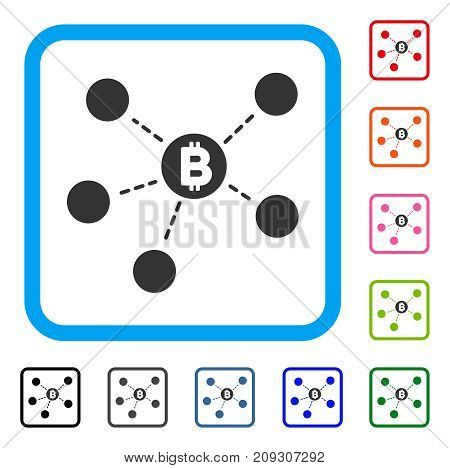 Bitcoin Net Structure icon. Flat gray pictogram symbol inside a light blue rounded frame. Black, gray, green, blue, red, orange color versions of Bitcoin Net Structure vector.