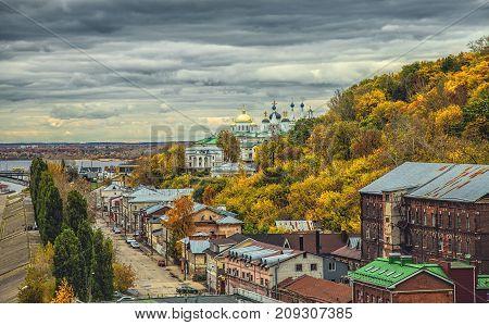 Annunciation orthodox monastery on the high bank in Nizhny Novgorod during golden autumn, Russia