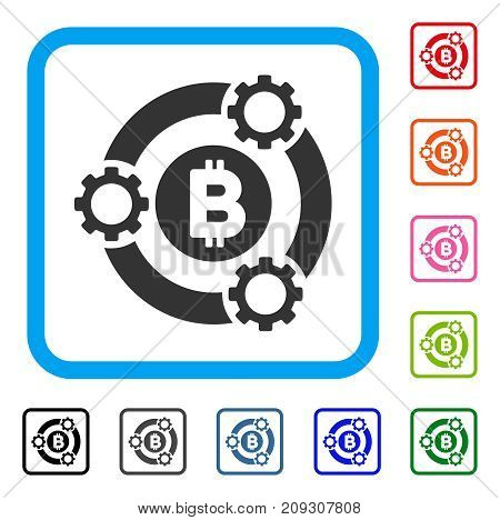 Bitcoin Pool Collaboration icon. Flat gray pictogram symbol in a light blue rounded rectangle. Black, gray, green, blue, red, orange color versions of Bitcoin Pool Collaboration vector.