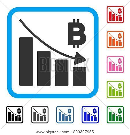 Bitcoin Recession Bar Chart icon. Flat gray pictogram symbol in a light blue rounded rectangle. Black, gray, green, blue, red, orange color versions of Bitcoin Recession Bar Chart vector.