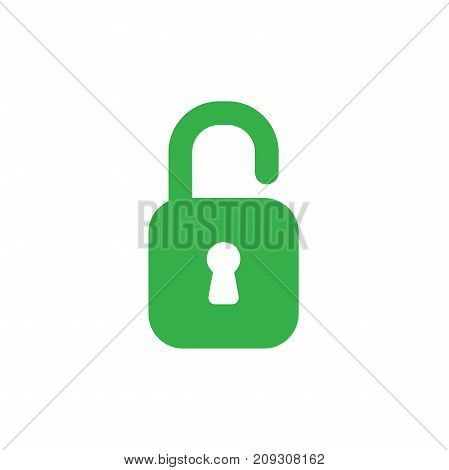 Flat Design Style Vector Concept Of Green Open Padlock Icon On White