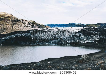 Glacier in southern Iceland. Global warming and climate change concept.