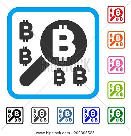 Bitcoin Search icon. Flat grey pictogram symbol inside a light blue rounded square. Black, gray, green, blue, red, orange color versions of Bitcoin Search vector. Designed for web and software UI.