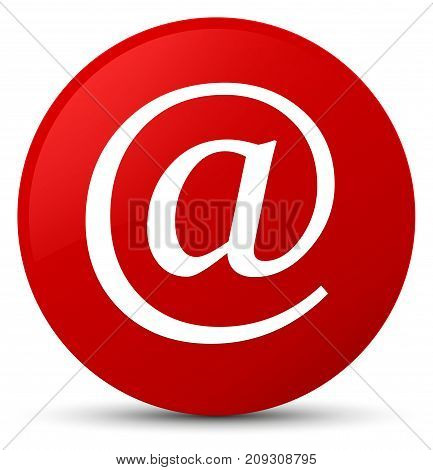 Email address icon isolated on red round button abstract illustration poster