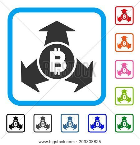 Bitcoin Spend Arrows icon. Flat gray pictogram symbol in a light blue rounded squared frame. Black, gray, green, blue, red, orange color additional versions of Bitcoin Spend Arrows vector.