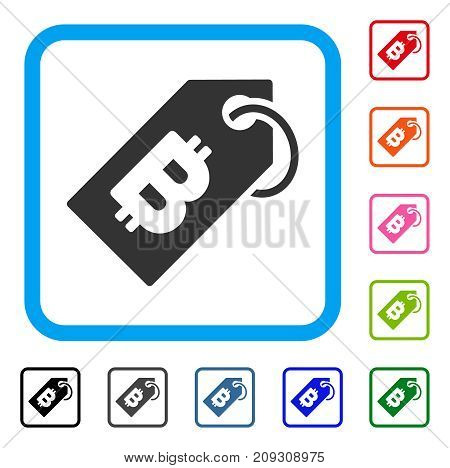 Bitcoin Tag icon. Flat gray pictogram symbol in a light blue rounded square. Black, gray, green, blue, red, orange color variants of Bitcoin Tag vector. Designed for web and application UI.