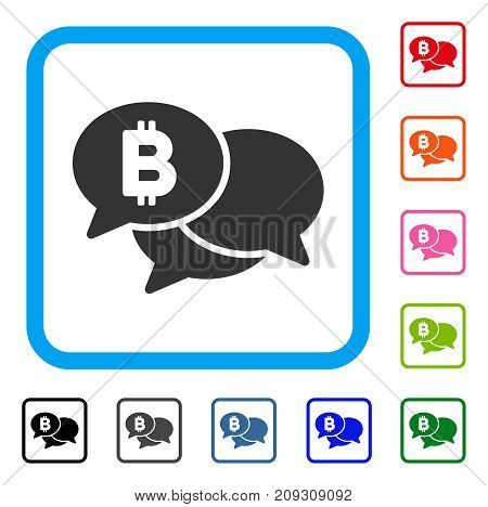 Bitcoin Webinar Messages icon. Flat grey pictogram symbol in a light blue rounded rectangular frame. Black, gray, green, blue, red, orange color variants of Bitcoin Webinar Messages vector.