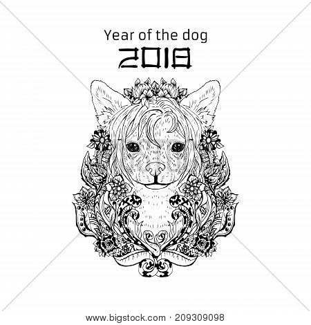 2018 Zodiac Dog. New year design. Christmas background. Dog s face with flowers. Chinese crested breed. Vector illustration