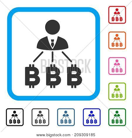 Businessman Bitcoin Expences icon. Flat grey pictogram symbol inside a light blue rounded rectangular frame. Black, gray, green, blue, red,