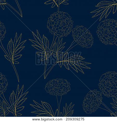 Yellow Marigold on Indigo Blue Background. Vector Illustration