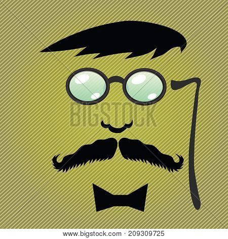 moustaches and accessories on diagonal striped background