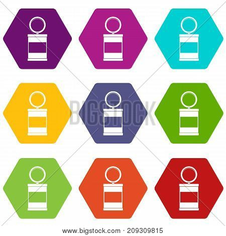 Trash can with pedal icon set many color hexahedron isolated on white vector illustration