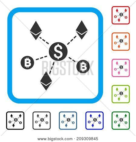 Cryptocurrency Network icon. Flat gray iconic symbol in a light blue rounded frame. Black, gray, green, blue, red, orange color variants of Cryptocurrency Network vector.