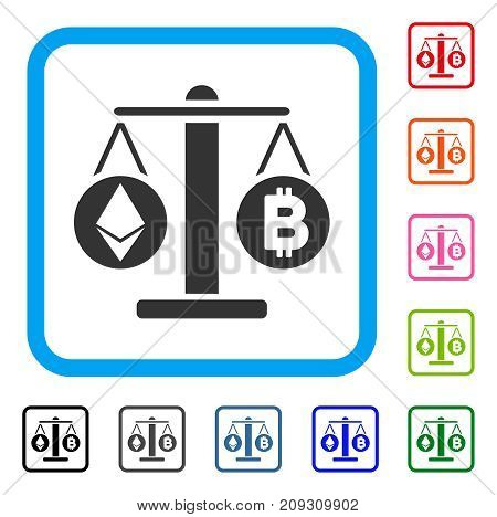Cryptocurrency Weight icon. Flat gray iconic symbol inside a light blue rounded rectangle. Black, gray, green, blue, red, orange color versions of Cryptocurrency Weight vector.