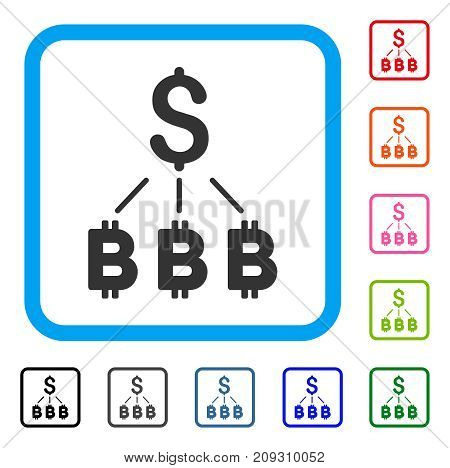 Dollar Bitcoin Links icon. Flat gray iconic symbol in a light blue rounded square. Black, gray, green, blue, red, orange color variants of Dollar Bitcoin Links vector.