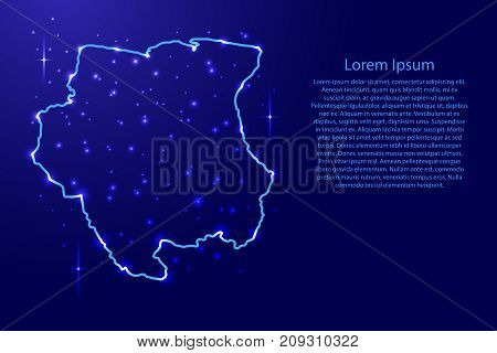 Map Suriname from the contours network blue luminous space stars for banner poster greeting card of vector illustration