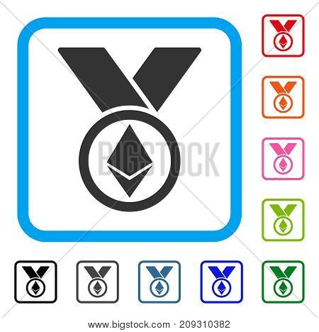 Ethereum Award Medal icon. Flat grey iconic symbol in a light blue rounded rectangle. Black, gray, green, blue, red, orange color versions of Ethereum Award Medal vector.